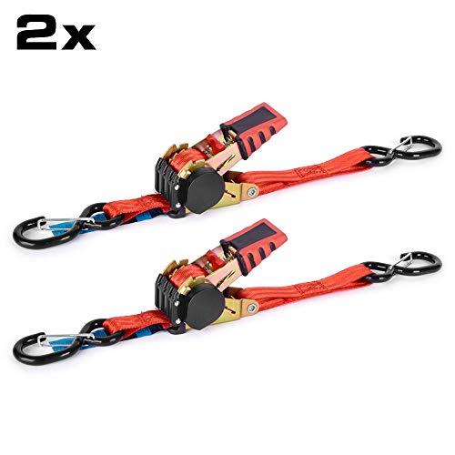 RACEFOXX Spanngurt, 2 Stück, Zurrgurt mit Automatik, Gurt, Ratsche, Ratschenspanngurte, Transportgurt, Transportsicherung, Ladungssicherung, rot