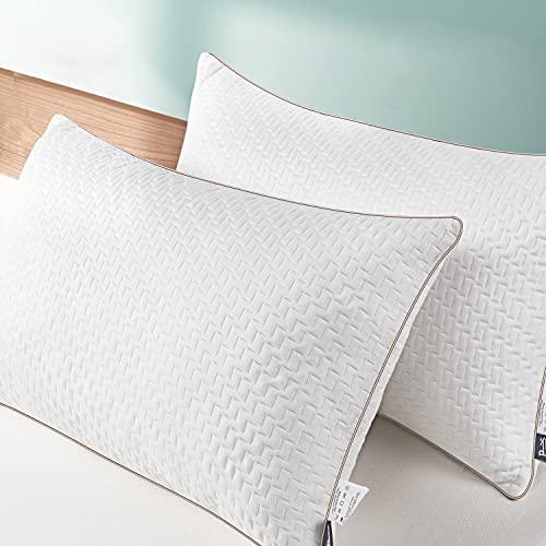 BedStory Almohada 50x75 Bambú Almohada Antiácaros 2 Pack con Funda de Lavable Almohada fibra con 80% de 3D Fibra + 20% de 7D Fibra de poliéster Relleno de Almohadas de Calidad Hotelera 【Nueva Versión】
