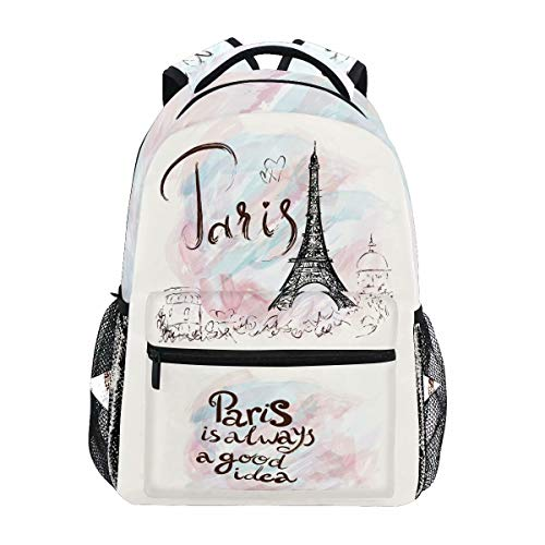 Wamika Eiffel Tower Backpacks for Girls Women, Romantic France Paris Computer Laptop Backpack, Pink Marble Watercolor Kids School Book Bag Casual Travel Hiking Camping Daypack