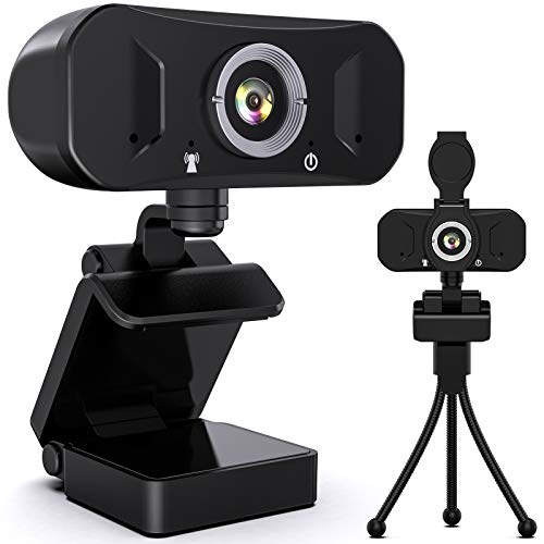 Webcam 1080P Full HD con Micrófono Estéreo, Cámara Web con Cubierta de Privacidad para Video Chat y Grabación, Compatible con Windows, Mac y Android