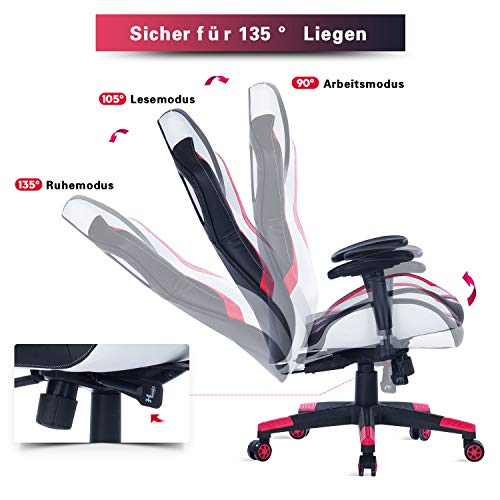 Wolmics Gaming Stuhl unter 150 Euro Rennstil PU-Leder Bild 4*