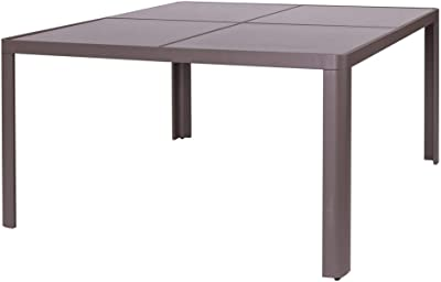 Mesa Comedor de Aluminio marrón para terraza y Exterior Garden ...