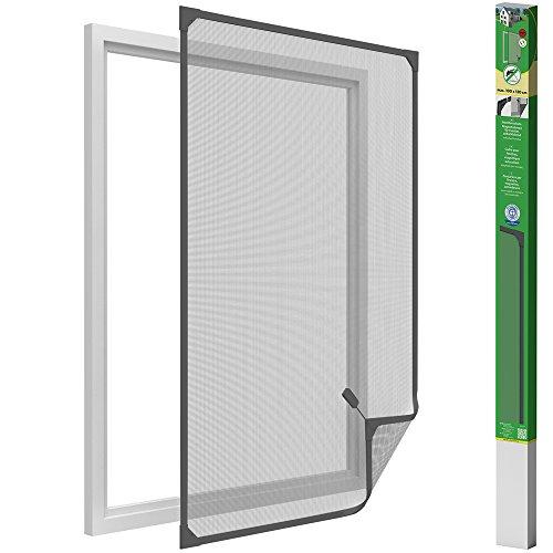 Easy Life Insektenschutz Fenster mit leicht montierbaren PVC Magnetrahmen Fliegengitter ohne Bohren individuell kürzbares Fliegennetz, Farbe:Anthrazit, Größe:100 x 120 cm
