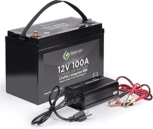 GLI Lithium-ion Deep Cycle Rechargeable Battery – 12v 100Ah IP54 Extreme Weather Resistant – up to 5,000 Cycle Long-Life – for Marine, Trolling Motors, RV, Off-Grid and Solar – with Charger & Cables