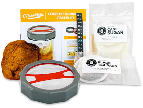 Masontops Complete Kombucha Starter Kit - Includes Organic Scoby, Thermometer, Activating Sugar & Kombucha Brewing Lid