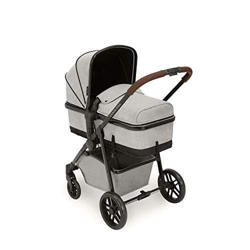 Ickle Bubba Cochecito 2 en 1 Moon | El paquete incluye silla de paseo y accesorios | Gris plateado sobre chasis negro