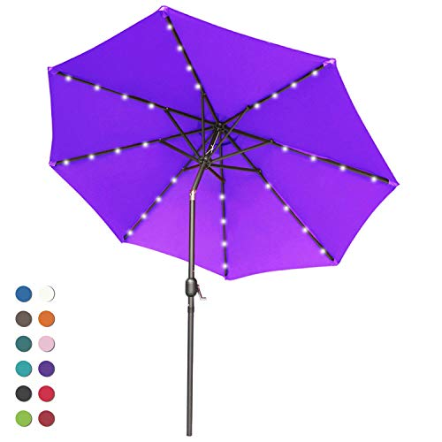 ABCCANOPY 9FT Patio Umbrella Ourdoor Solar Umbrella LED Umbrellas with 32LED Lights, Tilt and Crank Table Umbrellas for Garden, Deck, Backyard and Pool,12+Colors, (Purple)