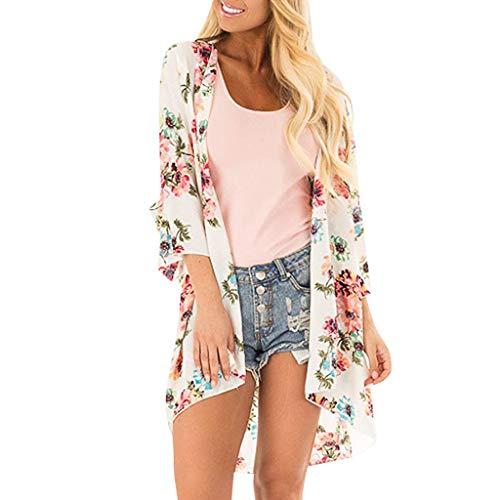Ausverkauf! Chiffon Strandkleid Cardigans Sommer Kimono Florale Cover up LEEDY Damen Leichte Boho Strand Jacke Tuch Lose Schal Strickjacke Strandponcho Bluse Elegant Tops