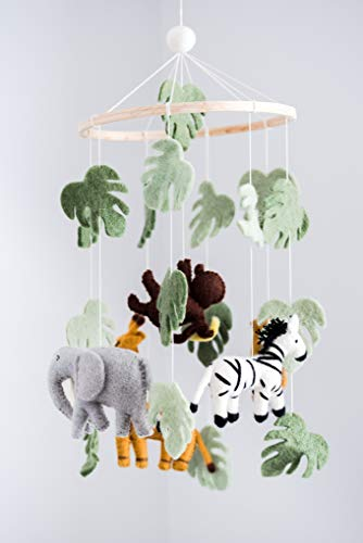 Jungle Animals Baby Mobile, Safari Nursery Room Decor, Safari Theme Nursery, Wild Animals Decoration, Wild Animals Mobile