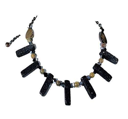 Black Jacksonville Mall Lava Stone Embellished with and Extens Cheap mail order sales Natural Beads