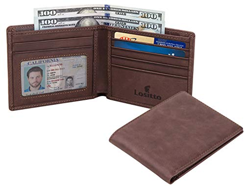 Lositto RFID Blocking Genuine Leather Wallet for Men-Excellent as Travel Bifold (Chocolate brown-Crazy horse leather)