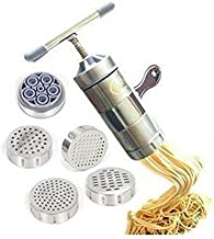 Newcreativetop Stainless Steel Manual Noodles Press Machine Pasta Maker with 5 Noodle Mould