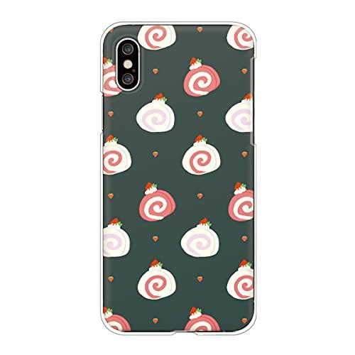 iPhone13 Pro アイフォン 対応スマホケース 【I】ティールグリーン スイーツ柄 ロールケーキ いちご かわいい ドット柄 くすみカラー 【ロゴなし】 case6338