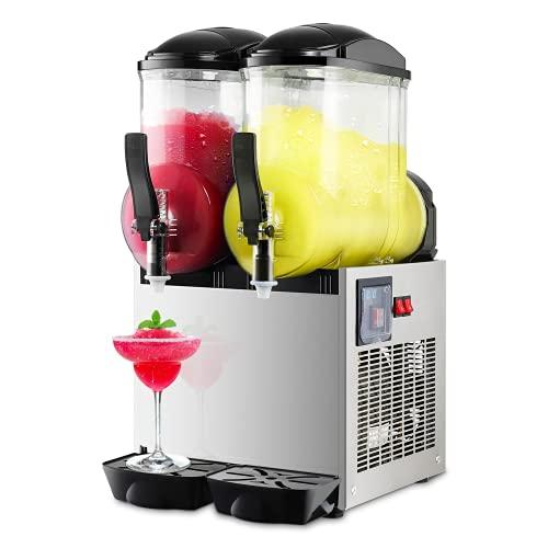 Commercial Slushy Machine 24L Double Tank Frozen Drink Machine 1050W Stainless Steel Margarita Wine Slush Smoothies Maker for Restaurant Bar Party