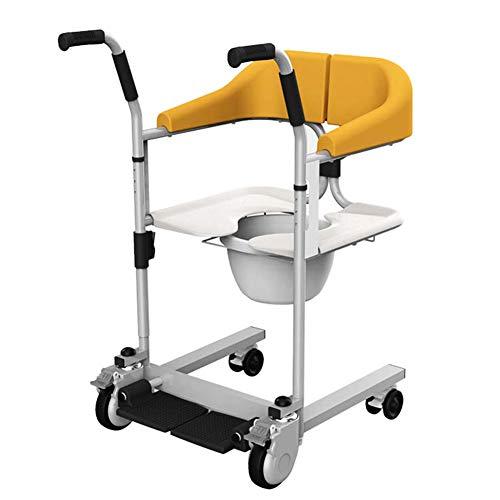 WANGXN Toilettenstuhl Mit Rollen Auch Zum Duschen, Patiententransferhilfe-Rollstuhl Mit Sitz Und Bad Heben Kann Fahrbarer Toilettenstuhl