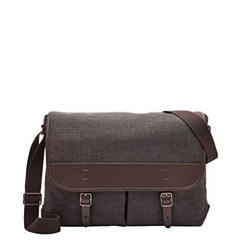 Fossil Men's Buckner Leather Trim Messenger Bag, Black Fabric, One Size