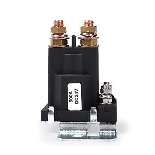 DollaTek Relé de Arranque de Alta Corriente 500AMP DC 24V 4 Pines SPST Contactor de Arranque automático para automóvil Control de aislador de baterías Dobles Interruptor Encendido/Apagado