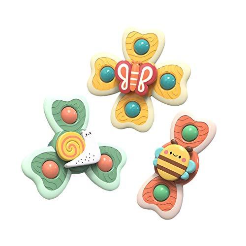 Hand Spinners - Juguete de rotación de baño para bebé, 3 piezas, juguete de Spinner de animales con ventosas