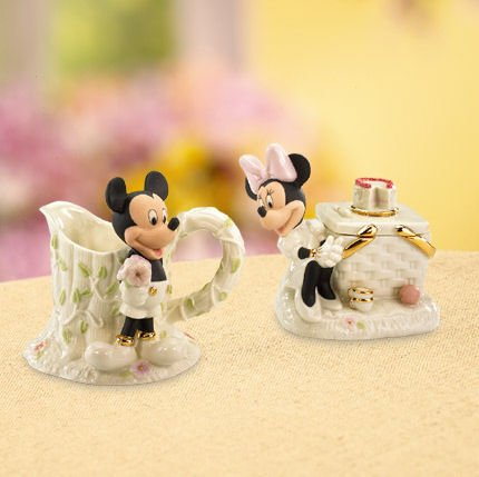Walt Disney Show Case Mickey and Minnies Picnic Sugar and Creamer Set Figurine by Lenox Classics