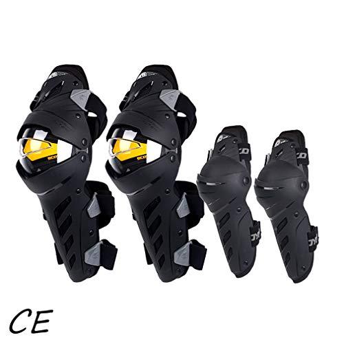 TZTED 4pcs Knieschoner Motorrad, Knieschoner MTB Motorrad Offroad-Motocross-Rennen Bruchsichere Schutzausrüstung,Schwarz