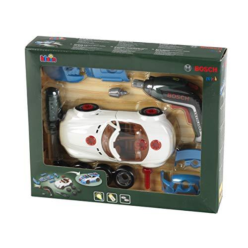 Theo Klein 8630 Set de tuneado Bosch, Coche desmontable con accesorios de tuneado, Con destornillador eléctrico a pilas, Medidas del embalaje: 30 cm x 6,5 cm x 25 cm,