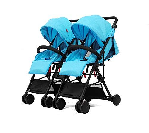 Poussette double légère et pliante, résistante aux chocs, parapluie universel, poignée amovible pour poussette double pour tout-petits, bleu clair