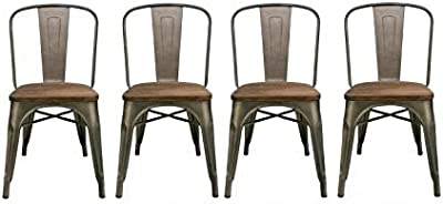 BTEXPERT Industrial Metal Antique Rustic Distressed Dining Side Chair (Set of 4)