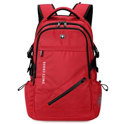 Sac à Dos Scolaire Junior High School Student Bag Sac à Dos décontracté for école, Sac à bandoulière Grande capacité Cartable pour Filles et Garçons (Color : Red, Taille : M)