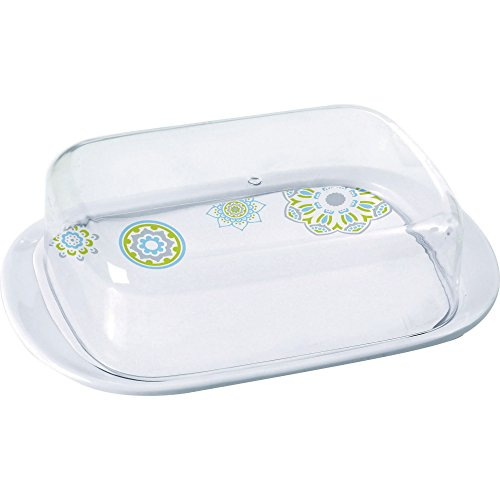 Sandhya Patterned Butter Dish (One Size) (White)