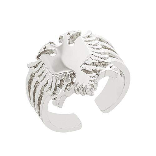 SHIZHEN Joyería étnica albanesa Anillo de águila bicéfala para Mujer, Anillo de Dedo de Plata/Oro, joyería, joyería étnica-Resizable-Silver_