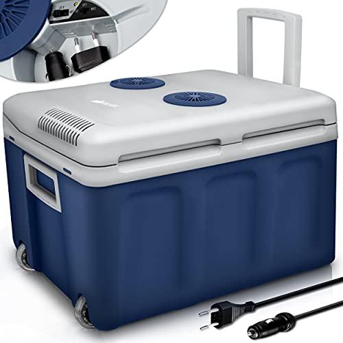 tillvex Kühlbox elektrisch 40L mit Rollen | Mini-Kühlschrank 230 V und 12 V für KFZ Auto Camping | kühlt & wärmt | ECO-Modus (Blau)