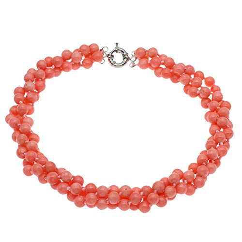 TreasureBay Collar de coral rosa de 8 mm con tres capas y gargantilla gruesa todo en uno para mujer
