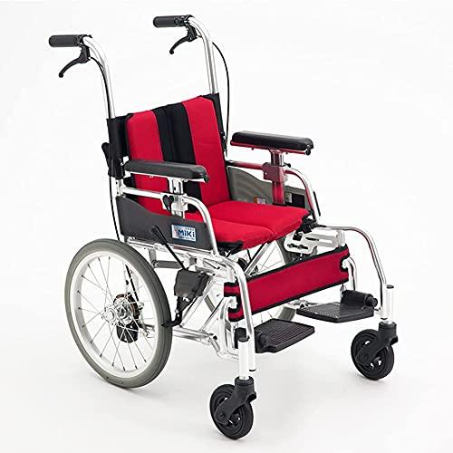 YIQIFEI Silla de Ruedas autopropulsada, Aluminio Ligero propulsado por Asistente con Marco Plegable, patinetes de Ayuda a la Movilidad con Freno de Mano (Silla)