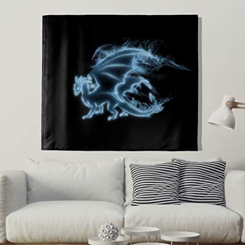 Blau Leuchtender Drache Wandteppich Mysteriöse Drache Patronus Wandkunst Gobelin Mythologische Tier Kunstwerk Wanddecke Mandala Böhmische Wandbehang Wanddekor Wandtuch Tapisserie white 91x59inch