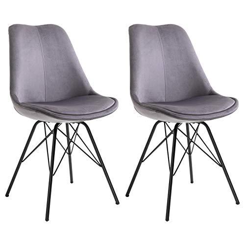 IDIMEX Esszimmerstuhl Everest modern und zeitlos, Küchenstuhl Essstuhl Polsterstuhl Stühle Esszimmer Esstisch, Samtstoffbezug in grau