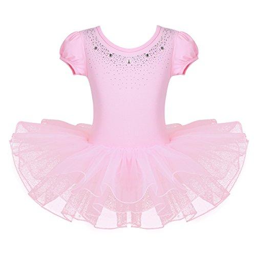 Agoky Vestido de Ballet para Niñas Tutú Falda Corta de Las Bailarinas Clásico Dance Gymnastics Leotardo 3-8 Años Rosa 4-5 Años