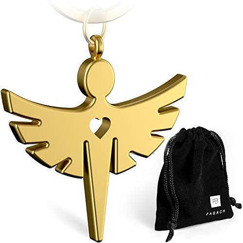 FABACH 2 Schutzengel Fabiel Schlüsselanhänger mit Herz - Edler Engel Anhänger aus Metall in mattem Gold - Glücksbringer Geschenk für Auto, Führerschein - Fahr vorsichtig