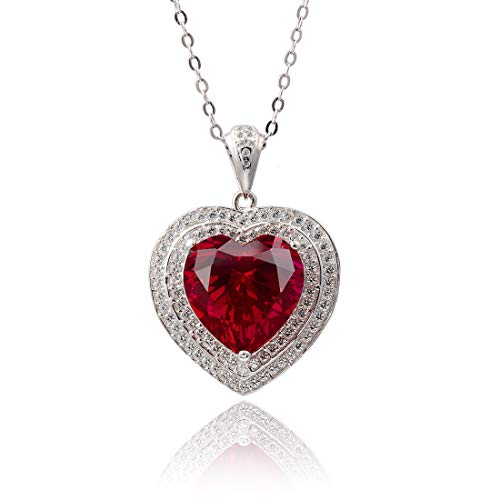 Women's Elegant Necklace for Party Lab Created Ruby Solid Silver Love Heart Pendant Necklaces for Girls Ladies