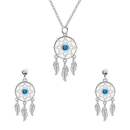 EVER FAITH Juego de collar y pendientes de plata de ley 925 con diseño de atrapasueños bohemio, turquesa