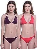 Supreme Bazaar Bikini Set Lingerie Bra Panty String Bikini Swim Suit Women Bikini Beachwear Set (Pack of 2)