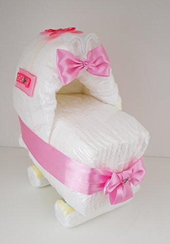 Windeltorte rosa, Windelkinderwagen, Windelwagen, Geschenk zum Geburt, Taufe, Babyparty Mädchen, Windeln Pampers Gr.2