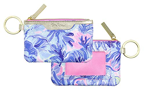Lilly Pulitzer ID Case Keychain Wallet with Zip Close, Cute Durable Card Holder for Women Teen Girls, Shade Seekers