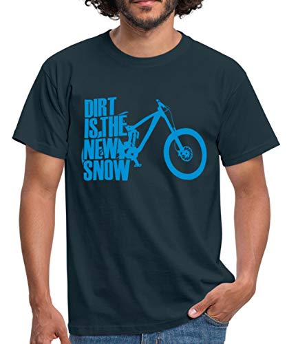 MTB Downhill Dirt is The New Snow Männer T-Shirt, L, Navy