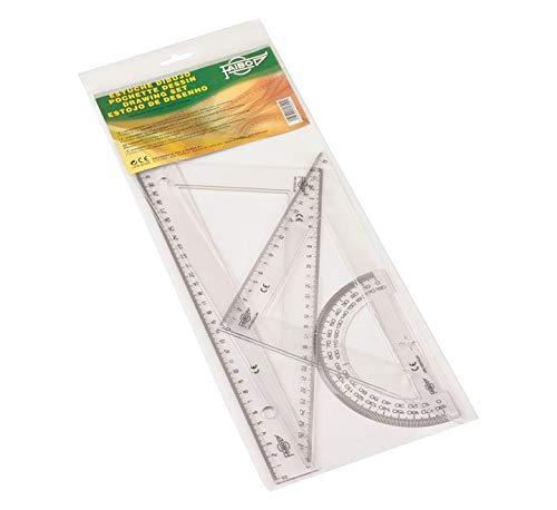 Faibo 806 - Estuche con regla, escuadra, cartabón y semicírculo, 30 cm