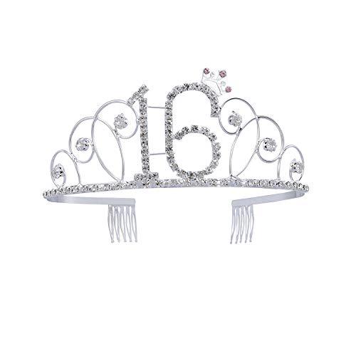 Frcolor Herzlichen Glückwunsch zum Geburtstag 16. Silberne Kristall Tiara Krone