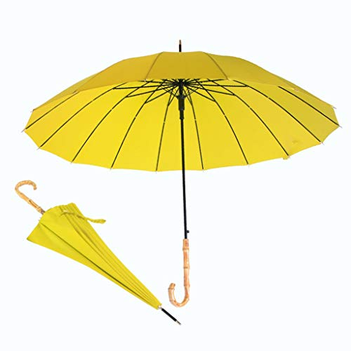 GFYS1201 Paraguas Plegable Paraguas De Bastón, Marco Fuerte A Prueba De Viento con 16 Costillas, Apertura Automática, Mango De Bambú Real De Calidad (Color : Yellow, Size : 36inch)