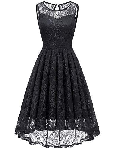 Gardenwed Damen Kleid Retro Ärmellos Kurz Brautjungfern Kleid Spitzenkleid Abendkleider CocktailKleid Partykleid Black XS