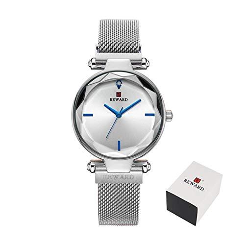 CHICAI Damas Sencilla Manera de los Relojes de Las Mujeres de la Hebilla magnética de Cuarzo Rosa de Oro Reloj de Pulsera Impermeable Girl Clock (Color : Silver)