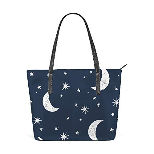 Bolsa de ombro para mulheres, sacola de couro, bolsa grande para compras, trabalho, sem costura, lua, estrelas, céu noturno, bolsa casual