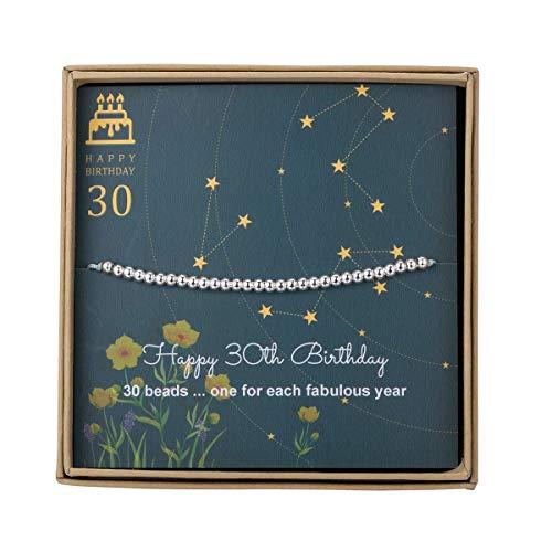 Pulsera de cuentas de plata de ley para regalo de 30 cumpleaños para mujer, con cordón ajustable de 17,78 cm a 22,86 cm